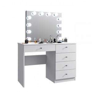 MBMT8 - Set Masa toaleta, 110 cm, cosmetica machiaj, masuta vanity, oglinda cu LED-uri - Alb