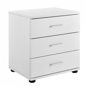 Noptiera cu 3 sertare - comoda / dulap pentru birou - alb - P54985284