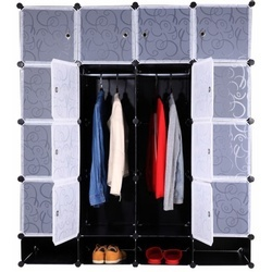 Organizator de dulap modular, negru / alb lapte, RODAN TYPE 2