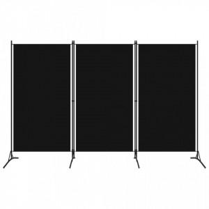 Paravan de camera cu 3 panouri, negru, 260 x 180 cm - V320734V