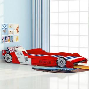 Pat pentru copii masina de curse, rosu, 90 x 200 cm - V244464V