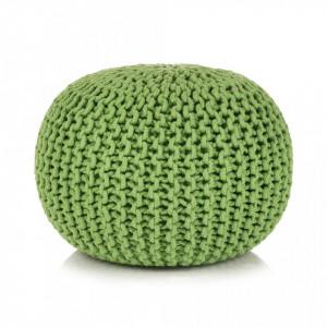 Puf tricotat manual, bumbac, 50 x 35 cm, verde - V245074V