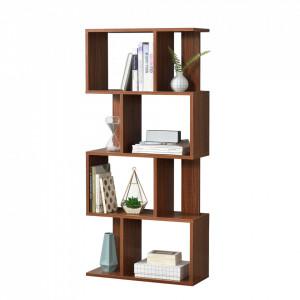 Raft carti AANF-6403, 130 x 60 x 24 cm, PAL melaminat, culoarea lemnului de nuc cu 8 compartimente depozitare - P57657911