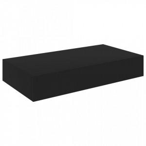 Raft de perete suspendat cu sertar, negru, 48 x 25 x 8 cm - V288205V