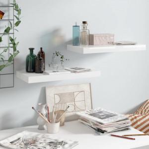 Rafturi de perete, 2 buc., alb extralucios, 50x23x3,8 cm, MDF - V323746V