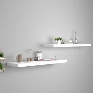 Rafturi de perete suspendate, 2 buc., alb, 90x23,5x3,8 cm, MDF - V323818V