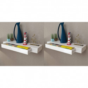 Rafturi de perete suspendate cu sertare, 2 buc., alb, 80 cm - V276002V