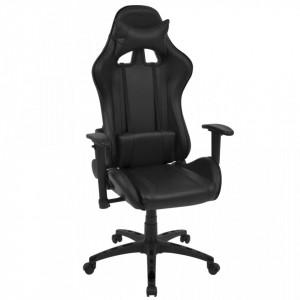 Scaun birou rabatabil, design racing, piele artificiala, negru - V20159V