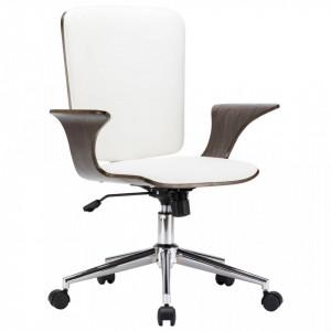 Scaun de birou rotativ, alb, piele ecologica si lemn curbat - V283133V