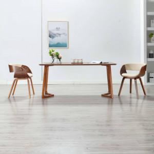Scaun de bucatarie, crem, lemn curbat si piele ecologica - V283110V