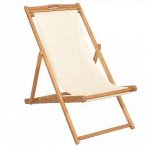 Scaun de exterior, crem, 56 x 105 x 96 cm, lemn de tec - V43802V