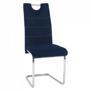 Scaun de masă, ţesătură albastră din catifea / cusături deschise, ABIRA NEW
