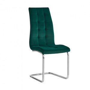 Scaun de masă, ţesătură de catifea smarald / crom, SALOMA NEW