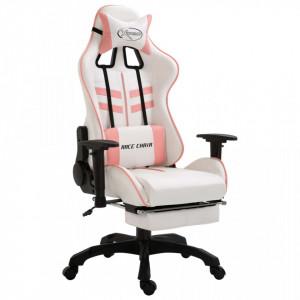 Scaun pentru jocuri, suport picioare, roz, piele ecologica - V20226V