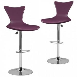 Scaune de bar, 2 buc., violet, piele ecologica - V323214V