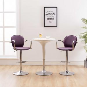 Scaune de bar cu brate, 2 buc., violet, piele ecologica - V249708V
