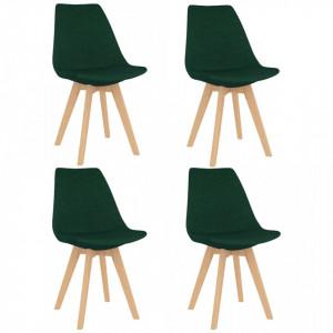 Scaune de bucatarie, 4 buc., verde inchis, material textil - V324172V