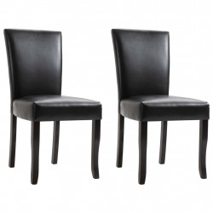 Scaune de sufragerie, 2 buc., negru, piele ecologica - V249180V