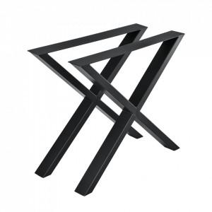 Set 2 bucati picioare masa in forma X, 79 x 72 cm, metal, negru - P57353532