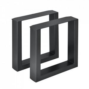 Set 2 bucati picioare masa/mobilier Model 3, 40 x 43 cm, metal, negru - P57353524