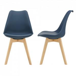 Set 2 bucati scaune design Tori, 81 x 49 x 57cm, imitatie piele, lemn de fag, bleu - P67291230