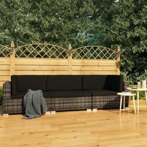 Set canapele de gradina cu perne, 3 piese, gri, poliratan - V47266V