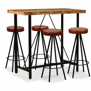 Set de bar 5 piese lemn masiv reciclat piele naturala si panza - V275144V