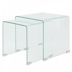 Set de masa din sticla securit transparenta, stivuibil, 2 piese - V244191V