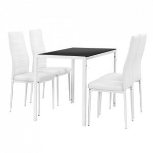 Set design bicolor 2 masa de bucatarie/salon Hamburg, 105 x 60 cm, 4 scaune, otel, sticla, imitatie piele,alb/negru - P54457288