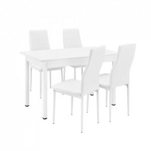 Set design Emma masa bucatarie cu 4 scaune, masa 120 x 60 cm, scaun 96 x 43 cm, MDF/piele sintetica, alb - P53158105