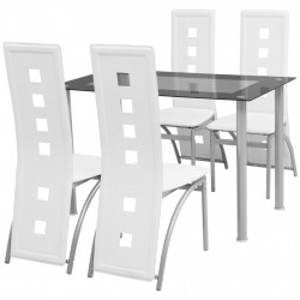 Set masa cu scaune, 5 piese, alb - V242909V