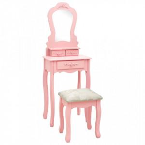 Set masa de toaleta cu taburet roz 50x59x136 cm lemn paulownia - V289311V