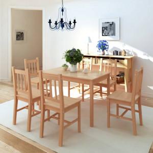 Set masa si scaune din lemn de pin 7 piese - V242960V