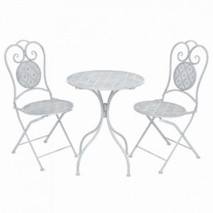 Set mobilier bistro, 3 piese, alb cenusiu, otel - V43150V