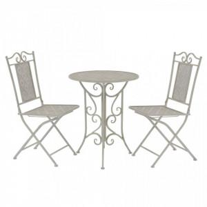 Set mobilier bistro, 3 piese, gri, otel - V43153V