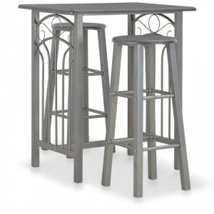 Set mobilier de bar, 3 piese, antracit, lemn si otel - V284397V