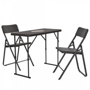 Set mobilier de bistro pliabil 3 piese maro HDPE aspect ratan - V44556V