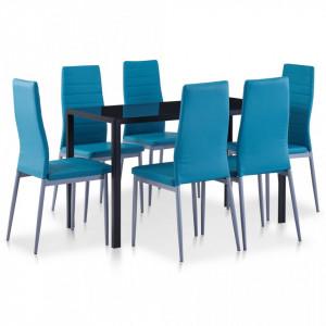 Set mobilier de bucatarie, 7 piese, albastru - V281704V