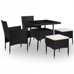 Set mobilier de exterior, 5 piese, negru, poliratan si sticla - V46175V