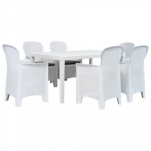 Set mobilier de exterior, 7 piese, alb, plastic, aspect ratan - V276125V