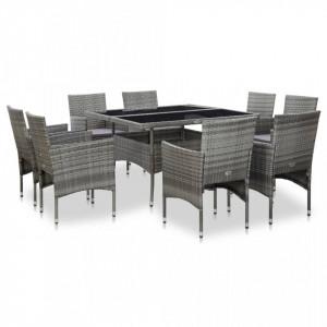 Set mobilier de exterior, 9 piese, gri, poliratan si sticla - V46186V