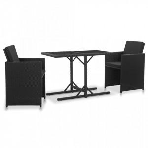 Set mobilier de exterior cu perne, 3 piese, negru, poliratan - V46373V