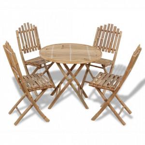 Set mobilier de exterior pliabil, 5 piese, bambus - V41497V