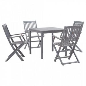 Set mobilier de gradina, 5 piese, gri, lemn masiv de acacia - V278925V