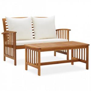 Set mobilier de gradina cu perne, 2 piese, lemn masiv de acacia - V310263V