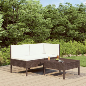 Set mobilier de gradina cu perne, 3 piese, maro, poliratan - V310185V