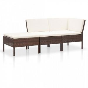 Set mobilier de gradina cu perne, 3 piese, maro, poliratan - V48959V