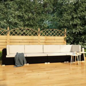 Set mobilier de gradina cu perne, 4 piese, negru, poliratan - V47268V