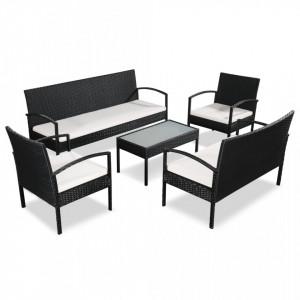 Set mobilier de gradina cu perne, 5 piese, negru, poliratan - V44185V