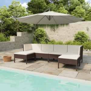 Set mobilier de gradina cu perne, 6 piese, maro, poliratan - V3056961V